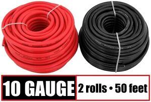 10 Gauge Primary Wire Red & Black - 2 Rolls - 50 Feet Each Copper Clad Aluminum