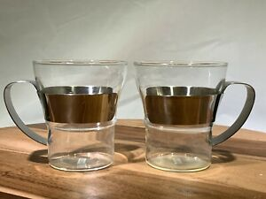 Bodum 2 Glass Mugs with Stainless Handles