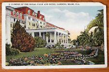 Vintage Postcard / stamp Royal Palm and Hotel Gardens, Miama Fla 1924 F359