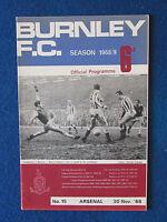 Burnley v Arsenal - 30/11/68 - Programme