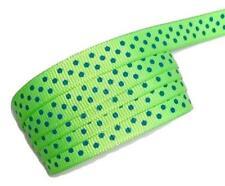 "5 yard Neon green w/ royal polka dot print 3/8"" grosgrain ribbon by the yard DIY"