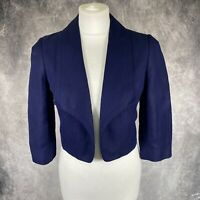 JAEGER Navy Blue Open Blazer Jacket UK 8 Linen Silk Occasion Wedding