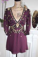 Temperley London Purple Wine Embellished Sequin Bead Silk Blouse 10 Small -80%