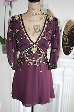 Temperley London Purple Wine Embellished Sequin Bead Silk Blouse 10 Small -80%