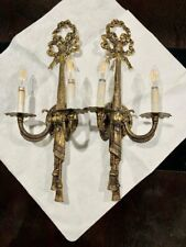 Pair Vintage Solid Brass Wall Sconces Light Fixtures.