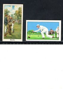 VERY EARLY BOWLING CIGARETTE CARDS, 2 DIFFERENT VERY EARLY BOWLERS