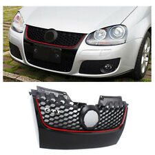 Red Trim Main Hex Upper Bumper Center Mesh Grille For VW Jetta MK5 GLI/GTI 06-09
