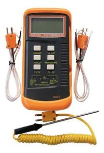 Dual channel K Type Digital Thermocouple Thermometer 6802 II, 2 sensors & probe