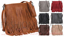 Womens Designer Style Tassle Fringe Shoulder Bag Faux Leather Messenger HandBag`