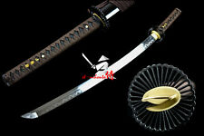 RAZOR SHARP CLAY TEMPERED T-10 STEEL BLADE JAPANESE KATANA WHEEL TSUBA SWORD NEW