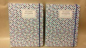 2 X A6-ish 12 cm x 16 cm HB Ruled Note Books - Diamond Print Design - Brand New