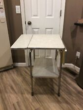 VINTAGE RARE DROP LEAF  WHITE CRACKED ICE FORMICA  TABLE/SERVING CART
