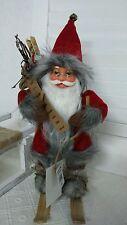 NEU Weihnachtsmann Santaclaus Nikolaus auf Ski Shabby Landhaus Rot