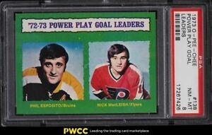 1973 O-Pee-Chee Hockey Phil Esposito & Rick MacLeish GOAL LDRS #138 PSA 8