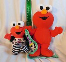 "2 Elmo Plush: 8"" Melody Pal & 11"" Elmo & Blankie Rattle 2003 Baby Sesame Street"