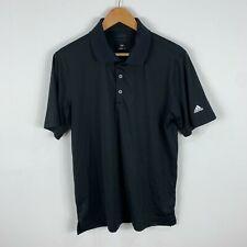 Adidas Mens Golf Shirt Polo Medium Black Short Sleeve Button Closure Collared