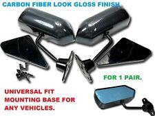 UNIVERSAL F1 Racing Side Mirror Blue Lens CARBON FIBER LOOK DIPPING PRINT TSL