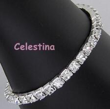 Single Row Stretch Bride Bridesmaid Prom Bracelet Crystal Diamante Rhinestones