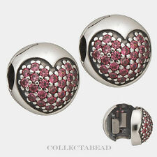 Authentic Pandora Sterling Silver Pink CZ Love Of My Life Clips (2) 791053CZS