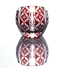 Japanese Collectible Edo Kiriko Cut Glass Red Shimmering Sake Cup Made in Japan