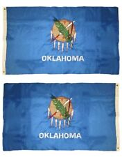 3x5 Embroidered State of Oklahoma Sewn Nylon Flag 3'x5' Grommets Double Sided
