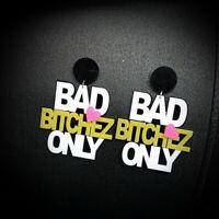"""1 Pair Women Acrylic Resin """"Bitch"""" Earring Boho Dangle Drop Stud Earring"""