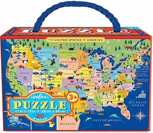 eeBoo 20 Piece Puzzle USA Map NEW