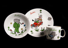 Vtg French Lourioux Porcelain BABAR ELEPHANT Childrens PLATE CUP BOWL France EVC