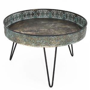 Deko Tablett Tray Serviertablett Bournon mit Ornamenten Antik Rustikal rund
