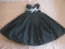 VICTOR COSTA  Strapless COCKTAIL DRESS Black&White POLKA DOTS XS