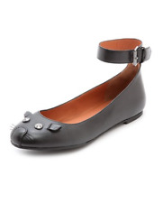 MARC BY MARC JACOBS BLACK ANKLE STRAP MOUSE BALLERINA FLATS EU 38.5 US 8.5 NEW