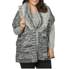Plus Size Beme Elbow Sleeve Multi Yarn Cardigan- Fur Collar (Detachable) Size 18