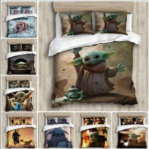 Star Wars: Baby Yoda Bedding Set 3PCS Duvet Cover Pillowcase Single Double King