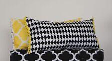 Pom Pom Cushion Covers Rectangle Oblong Geometric Chic Lumbar Yellow Black White