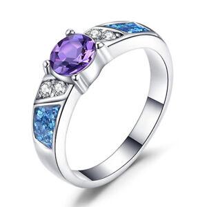 925 Silver Jewelry Oval Cut Purple Amethyst Women Wedding Ring Size 5-12