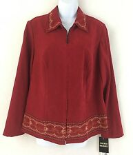 Studio 1 Womens Ladies Red Floral Collared Long Sleeve Zip Jacket Size 14W
