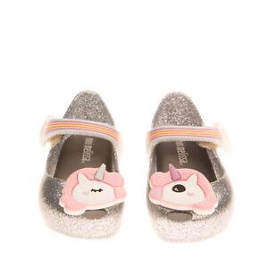 MINI MELISSA Mary Jane Shoes EU 22-23 UK 5-6 US 7 Glitter Unicorn Patch Rainbow