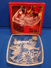 "GORHAM Holiday Traditions Christmas Cardinals 8"" Square Crystal Glass Bowl w/Box"