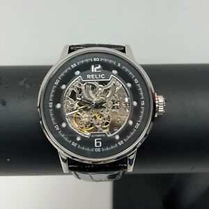 Relic Skeleton Automatic Black Leather Band Men's Watch Model ZR77224
