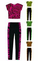 Girls Dance Set Neon Crop Top And Zebra Legging 2 Piece Set New Kids Age 5-13 Yr