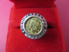 Rare 1850 Liberty Head One Dollar Gold Centinel Ring Diamonds, Ruby's, Sapphires