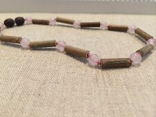 11 inch Hazelwood (For GERD, Colic, Reflux, Eczema) Pink Rose Quartz Necklace...