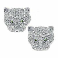 925 Silver Leopard Head Rhinestone Crystal Earrings Animal Ear Studs Jaguar Cat