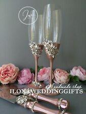 Swarovski Crystal Personalized Wedding Toast Champagne Glass Rose Gold Cake Set
