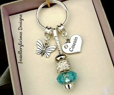 Beautiful Love Heart Rhinestone COUSIN Butterfly AB Crystal Keyring Key Ring