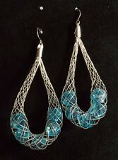 Large Silver Tone Statement Wire Mesh Faceted Blue Stone Earrings