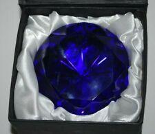 "Oleg Cassini Crystal Glass Cobalt Blue DIAMOND Shaped 3 1/2"" Paperweight W/Box"