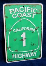 PACIFIC COAST HIGHWAY - *US MADE* Embossed Metal Tin Sign - Man Cave Garage Bar