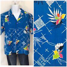 Vintage 70s 80s Hilo Hattie Hawaiian Shirt L/Xl Neon Retro Aloha Print Shirt