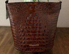 Brahmin Croco Leather Pecan Melbourne Quinn Shoulder Bag Purse